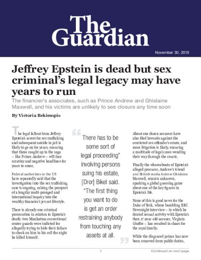 Jeffrey Epstein is dead but sex criminal's legal legacy may have years to run