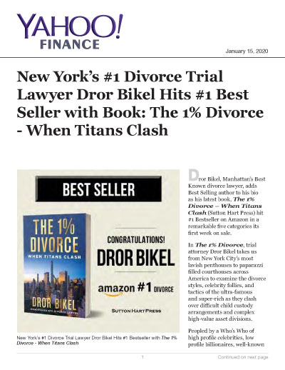 New York's #1 Divorce Trial Lawyer Dror Bikel Hits #1 Best Seller w/Book: The 1% Divorce - Clash of Titans