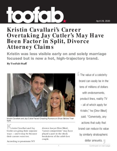Kristin Cavallari's Career Overtaking Jay Cutler's May Have Been Factor in Split, Divorce Attorney Claims