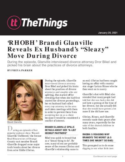 "'RHOBH' Brandi Glanville Reveals Ex Husband's ""Sleazy"" Move During Divorce"