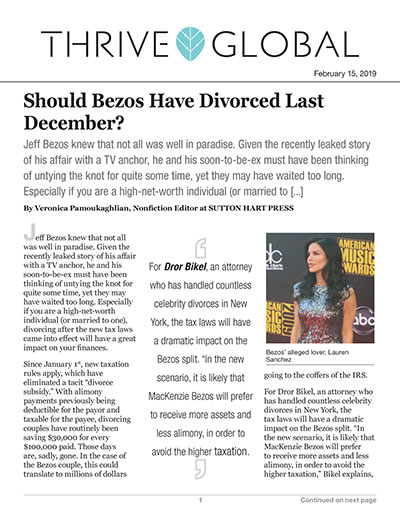 Should Bezos Have Divorced Last December?
