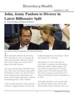John, Jenny Paulson to Divorce in Latest Billionaire Split